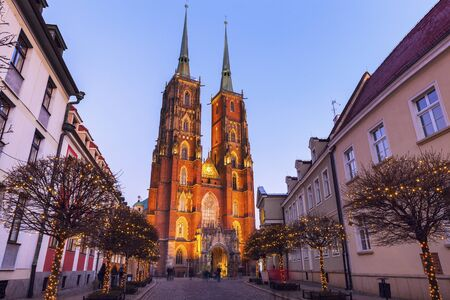 Wroclaw Cathedral at evening. Wroclaw, Lower Silesian, Poland. Stock Photo