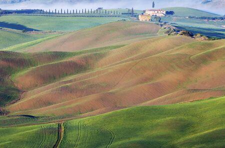 Amazing Tuscany landscape - seen at sunrise. Tuscany, Italy. Stock Photo