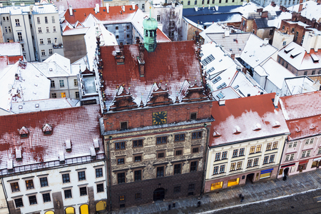 Old Town Hall on Republic Square in Pilsen - aerial view. Pilsen, Bohemia, Czech Republic. 版權商用圖片