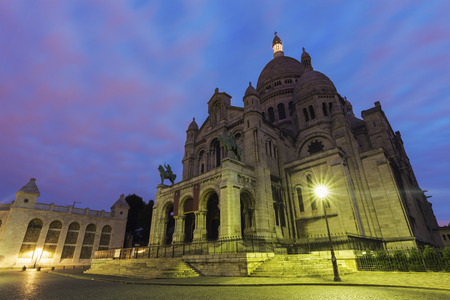 sacred heart: Basilica of the Sacred Heart (Sacre Coeur) in Paris. Paris, France. Stock Photo