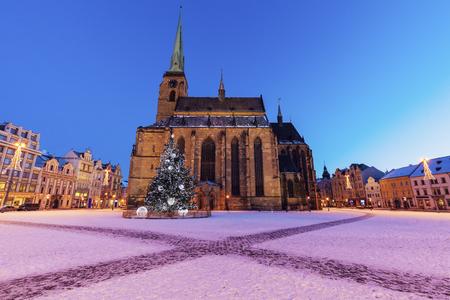 St. Bartholomew Cathedral in Pilsen. Pilsen, Bohemia, Czech Republic.