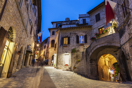 Old town of Assisi at night. Assisi, Umbria, Italy.