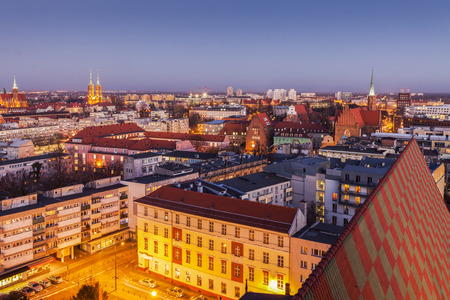 Aerial panorama of Wroclaw. Wroclaw, Lower Silesian, Poland.