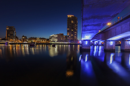 Belfast architecture along River Lagan. Belfast, Northern Ireland, United Kingdom. Stock Photo