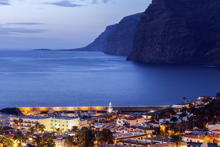 Panorama of Puerto de la Cruz Acantilados de los Gigantes. Acantilados de los Gigantes, Tenerife, Canary Islands, Spain. Stock Photo