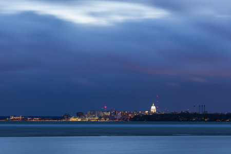 Madison panorama across Lake Monona. Madison, Wisconsin, USA. Stock Photo