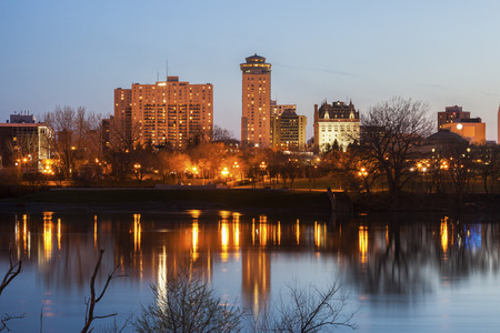 Skyline of Winnipeg at evening. Winnipeg , Manitoba, Canada.