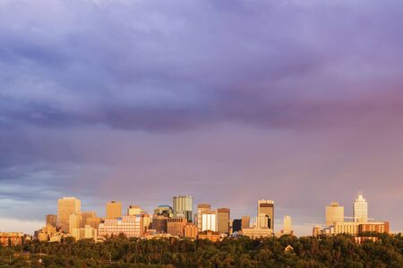 Rainbow over Edmonton. Edmonton, Alberta, Canada. Stock Photo