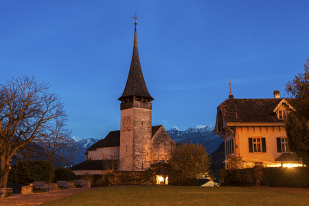 Church in Spiez at night. Spiez, Bern, Switzerland.