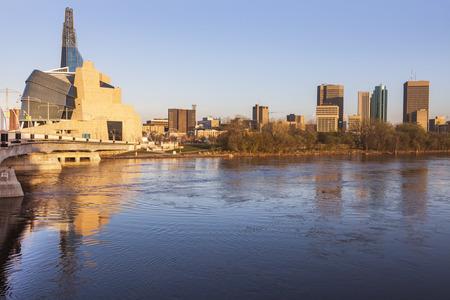 Skyline of Winnipeg at sunrise. Winnipeg , Manitoba, Canada. Stock Photo - 84396872