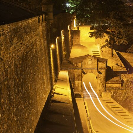 Old city walls in Pamplona. Pamplona, Navarre, Spain. Stock Photo