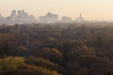 Winnipeg panorama at sunrise. Wynnipeg, Manitoba, Canada. Stock Photo
