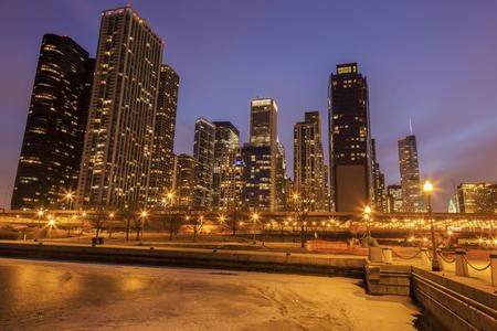 Panorama of Chicago and frozen Lake Michigan. Chicago, Illinois, USA.