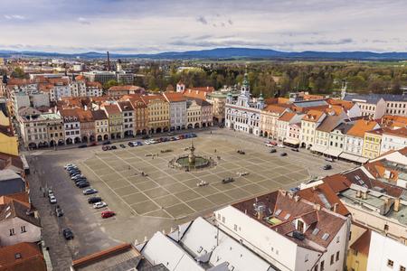 Main Square of Ceske Budejovice. Ceske Budejovice, South Bohemia, Czech Republic.