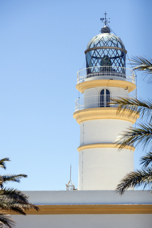 motril: Sacratif Lighthouse against blue sky. Andalusia, Spain. Stock Photo