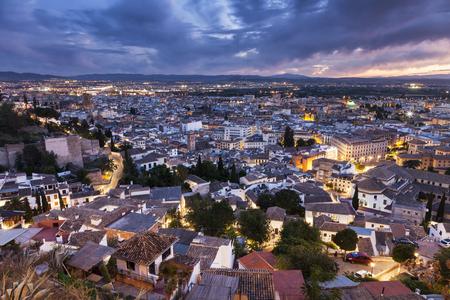 Panorama of Granada at sunset. Granada, Andalusia, Spain.