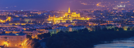 Night panorama of Cordoba with Mosque Cathedral. Cordoba, Andalusia, Spain. Stock Photo