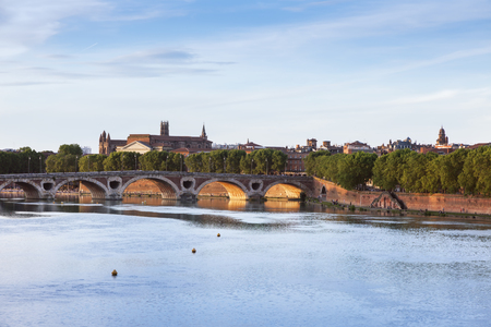 Pont Neuf and Basilica of St. Sernin in Toulouse. Toulouse, Occitanie, France. Stock Photo