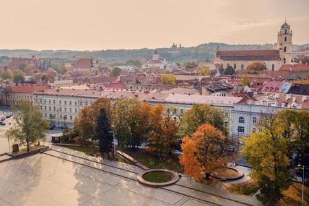 Architecture of Vilnius - aerial panorama of city. Vilnius, Lithuania.