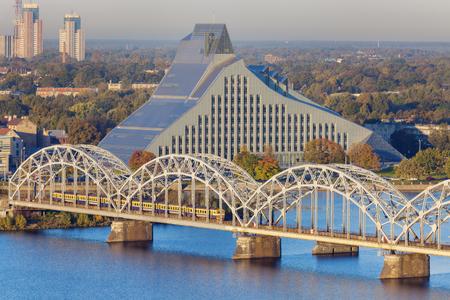 Railway Bridge in Riga. Riga, Latvia