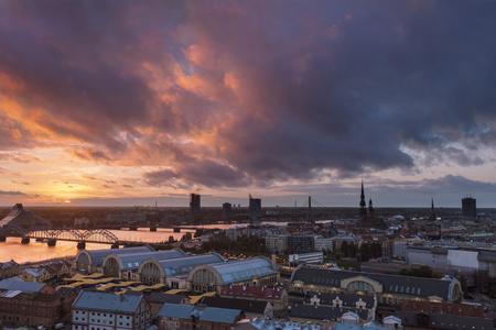 Panorama of Riga at sunset. Riga, Latvia