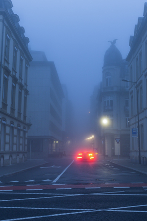 Panorama of Luxembourg City in morning fog. Luxembourg City, Luxembourg.