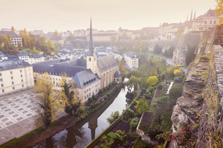Neumunster Abbey in Luxembourg City. Luxembourg City, Luxembourg. Stockfoto