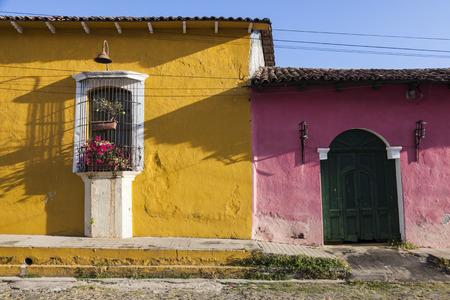 Colorful architecture of Suchitoto. Suchitoto, Cuscatlan, El Salvador. Stock Photo