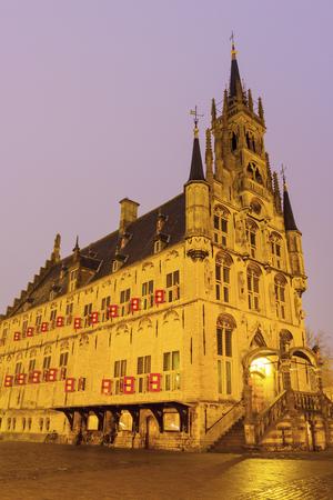 City Hall in Gouda. Gouda, South Holland, Netherlands. Фото со стока