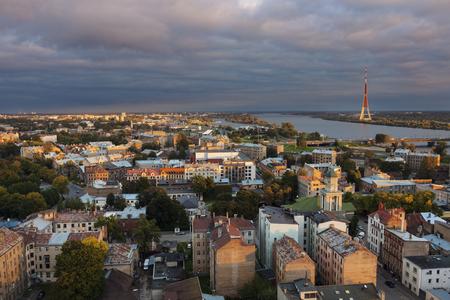 Panorama of Riga with Daugava River. Riga, Latvia