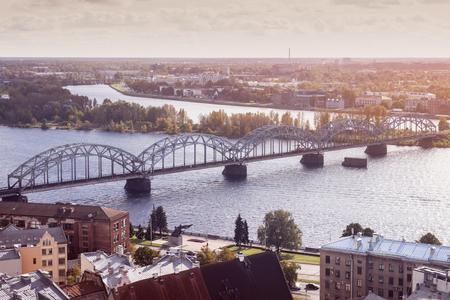 Panorama of Riga with Railway Bridge. Riga, Latvia