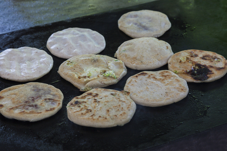 Pupusas in street restaurant in Salvador. El Tunco, El Salvador.