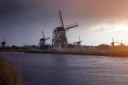 Windmills at Kinderdijk. Kinderdijk, South Holland, Netherlands