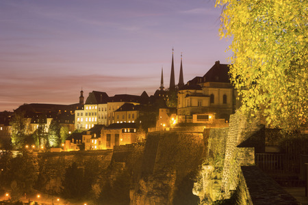 Panorama of Luxembourg City at sunset. Luxembourg City, Luxembourg.