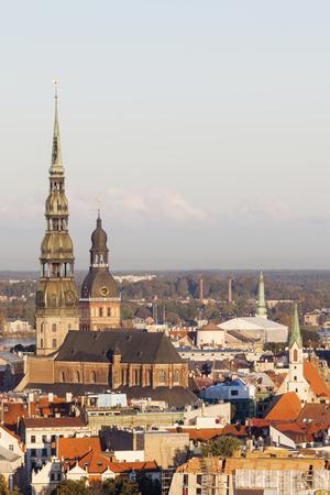 St. Peter Church and Riga Cathedral. Riga, Latvia.