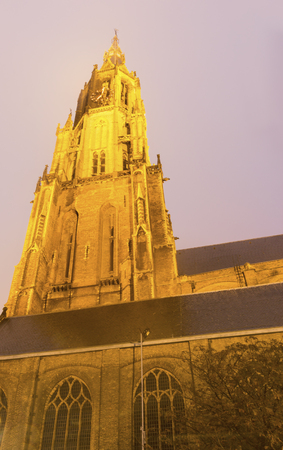 New Church in Delft at evening. Delft, South Holland, Netherlands. Stock Photo