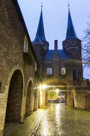 Gate in Delft at evening. Delft, South Holland, Netherlands.