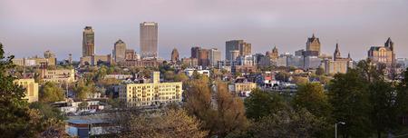 Milwaukee panorama in spring scenery