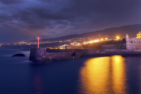 Puerto de la Cruz at night. Puerto de la Cruz, Tenerife, Canary Islands, Spain. Stock Photo
