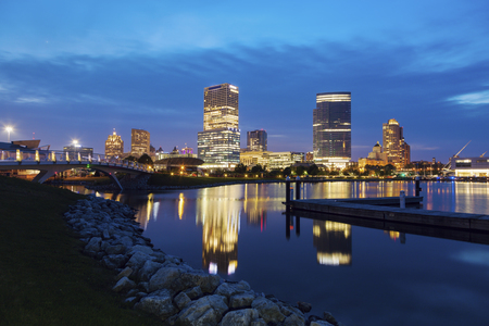 Panorama of Milwaukee at night. Milwaukee, Wisconsin, USA.