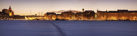 Panorama of Helsinki seen from frozen Baltic Sea. Helsinki, Finland.