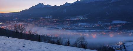 Winter panorama of Zakopane. Zakopane, Lesser Poland, Poland. Stock Photo
