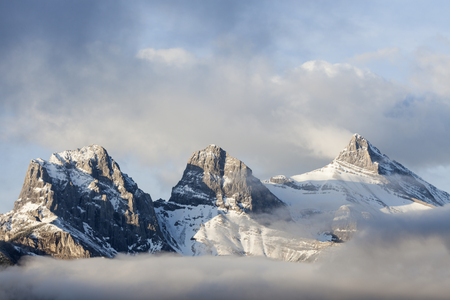 The Three Sisters in Banff National Park. Canmore, Alberta, Canada.