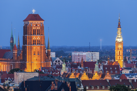 Panorama of Gdansk at night. Gdansk, Pomorskie, Poland.