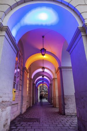 Lviv City Hall at night. Lviv, Lviv Oblast, Ukraine. Stock Photo