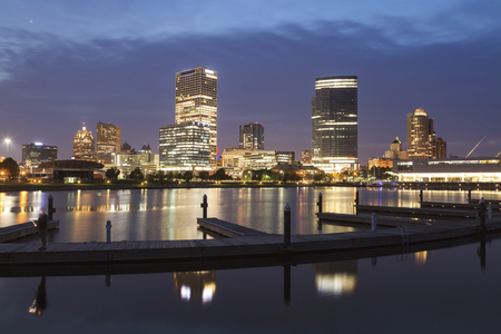 Panorama of Milwaukee at night. Milwaukee, Wisconsin, USA. Stock Photo