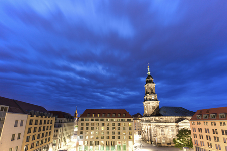 Holy Cross Church in Dresden at night. Dresden, Saxony, Germany. Standard-Bild - 118717132