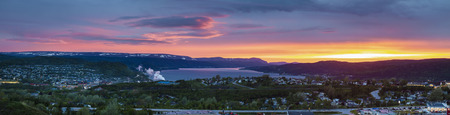 Corner Brook at sunset. Corner Brook, Newfoundland and Labrador, Canada.