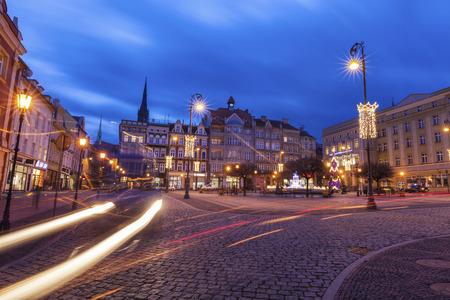 Walbrzych old town at evening. Walbrzych, Lower Silesian, Poland.