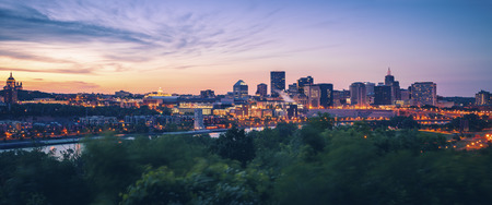 Panorama of St. Paul at sunset. St. Paul, Minnesota, USA.